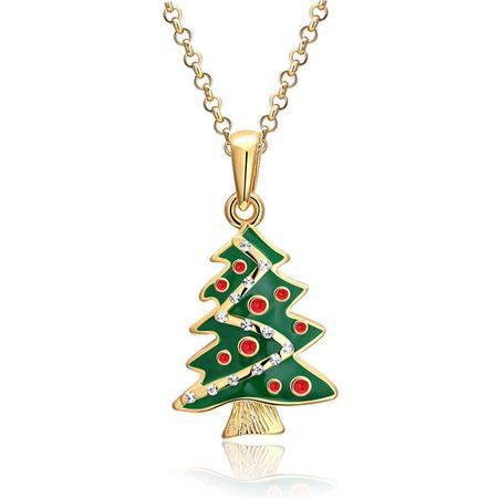 Christmas element fashiontiy exquisite green christmas tree pendant zircon decoration enamel necklace aloadofball Image collections