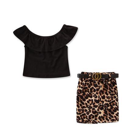 9a9289948caa $7.82 - $11.54. SKU : 612KW596. 2 Pcs Girl Fashion Off-shoulder Tops And  Leopard Print Skirt. $7.36 - $10.98