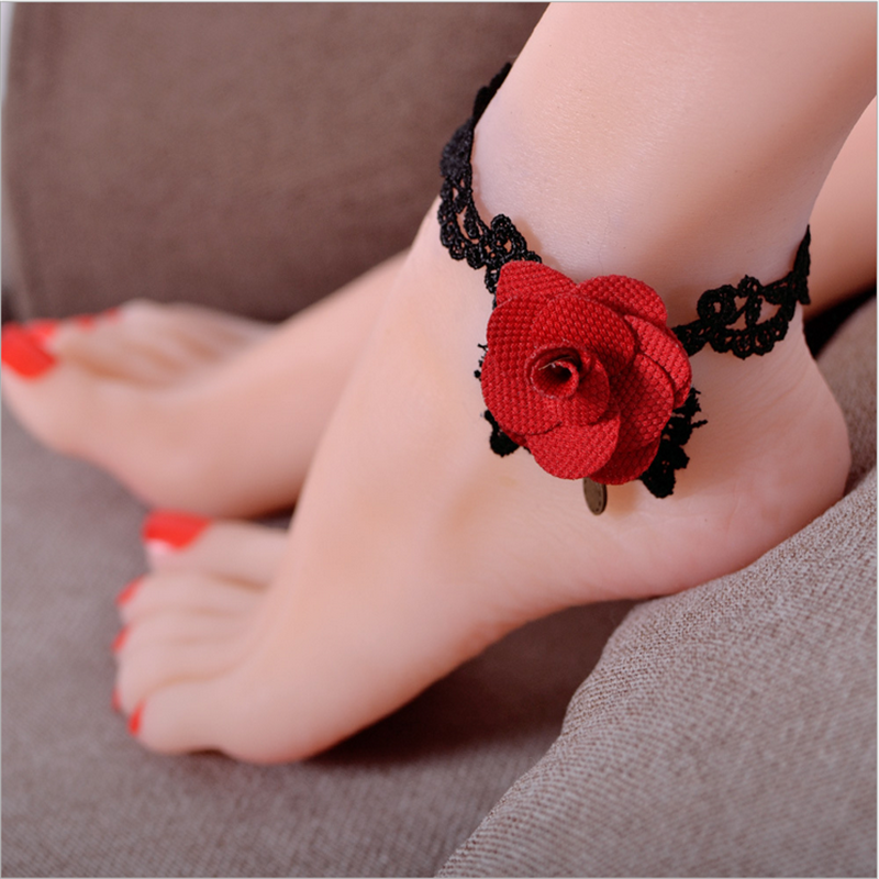 Charming Women Decoration JEWELRY Hademade Lace Red Rose Anklet