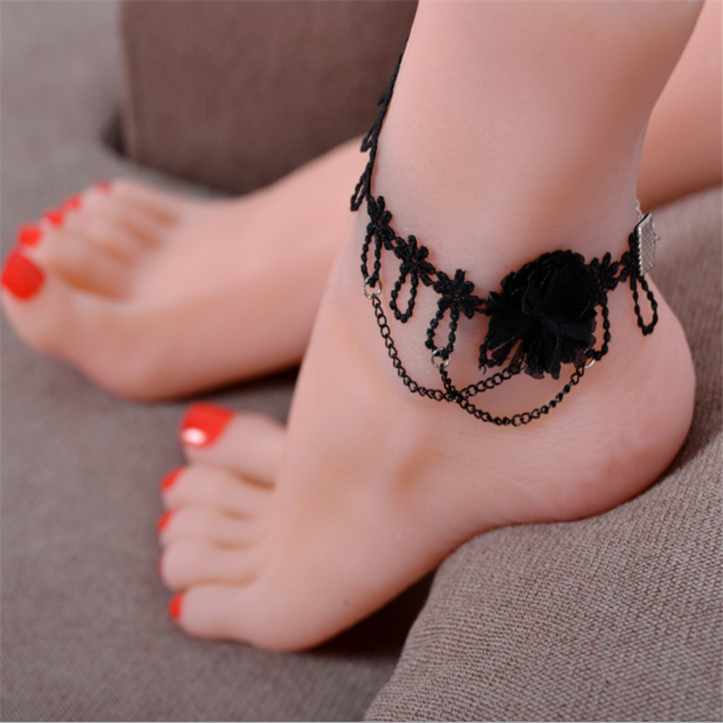 Charming Women Decoration JEWELRY Handmade Rose Tassel Lace Anklet