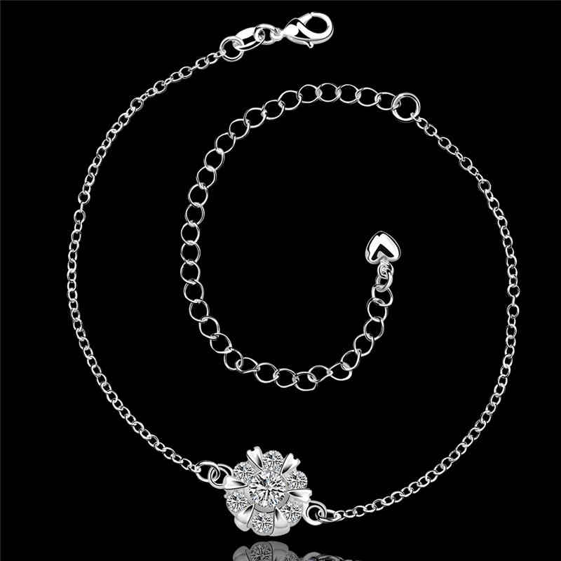 Elegant JEWELRY Flower Shape Silver Color Popular Chain Anklets For Women