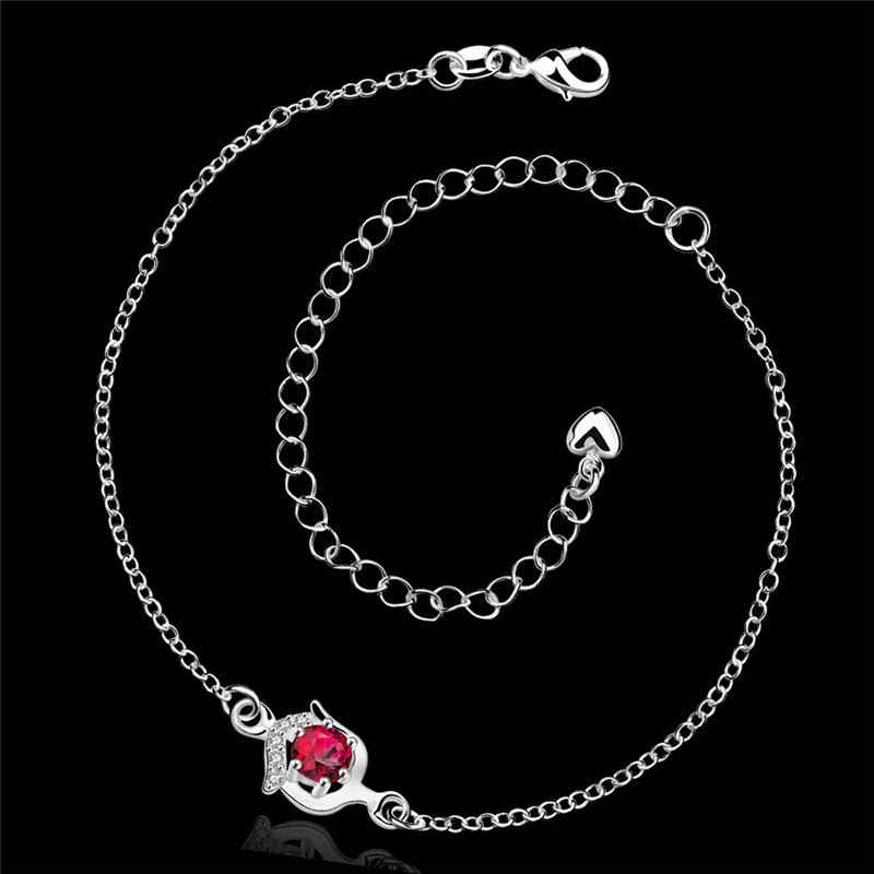 Elegant Ruby Imitation JEWELRY Silver Plated Adjustable  Romantic Gift Chain Anklets