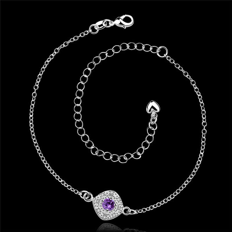Exquisite Women JEWELRY Silver Square Shape  Cubic Zirconia Anklets