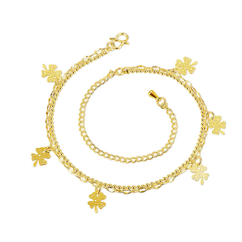 New Design High Quality Products Gold Plated JEWELRY Leaf Shape Copper Anklets