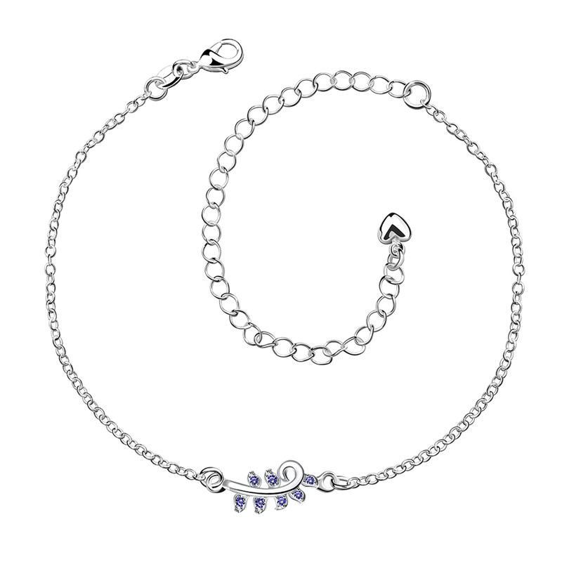 Vintage Style Silver Plated Fashion JEWELRY Crystal Rhinestone Anklet