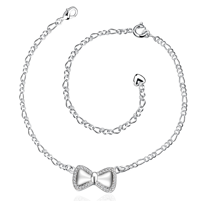 Bow Tie Shape Charm Chain Popular JEWELRY Cubic Zirconia Anklet
