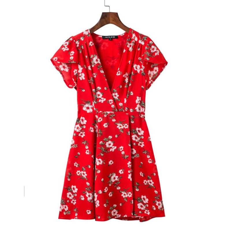 SUMMER New Design Fashion V Collar Short Sleeve Red Flower Printing DRESS