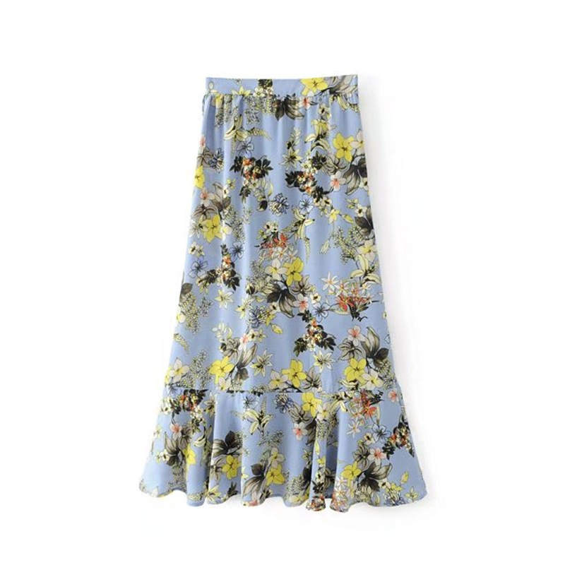 Chic Women Vintage Floral Printed Beach Style Lace Up Long SKIRT