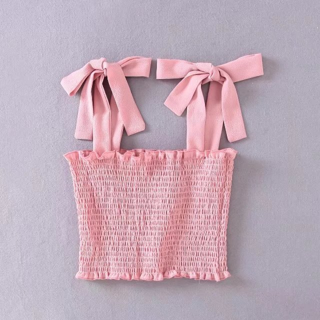 Fashion Lady Simple Design Ruffle Strap Bow-knot TANK TOP Tees