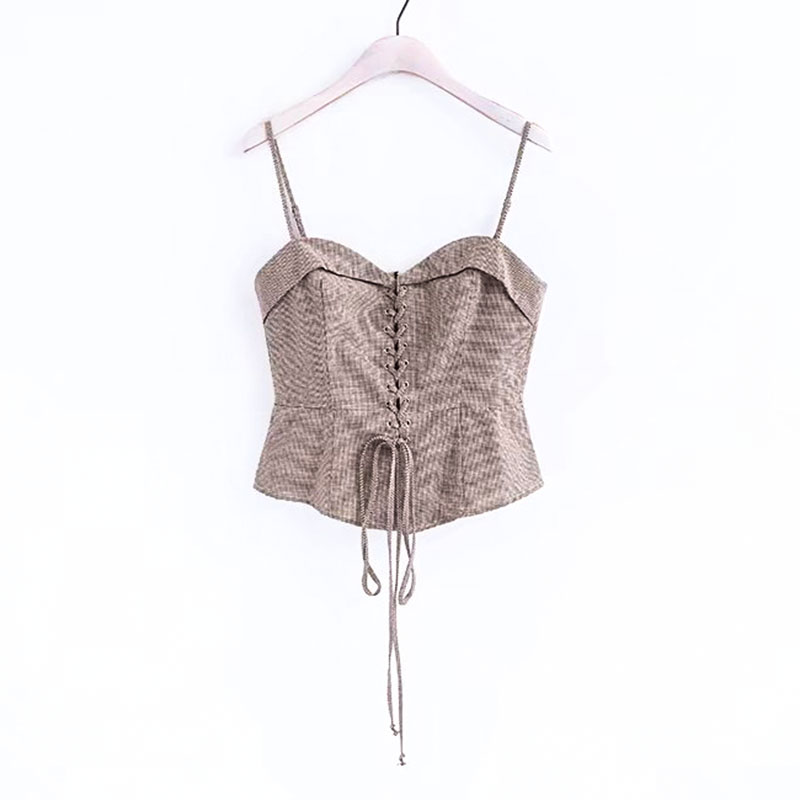 Fashion Lady Lace up Zipper Strap Camisole TANK TOP