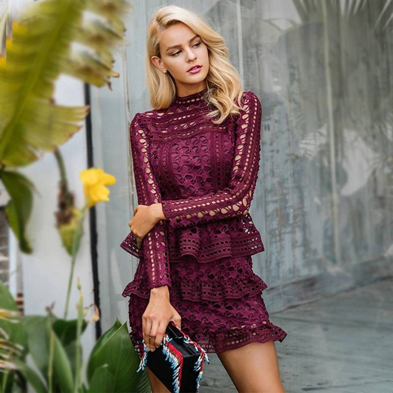 Elegant Woman Embroidery Hollow Lace Long Sleeve NEW Dress