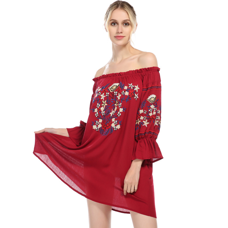 Summer NEW Style Off Shoulder Embroidery Strapless Dress