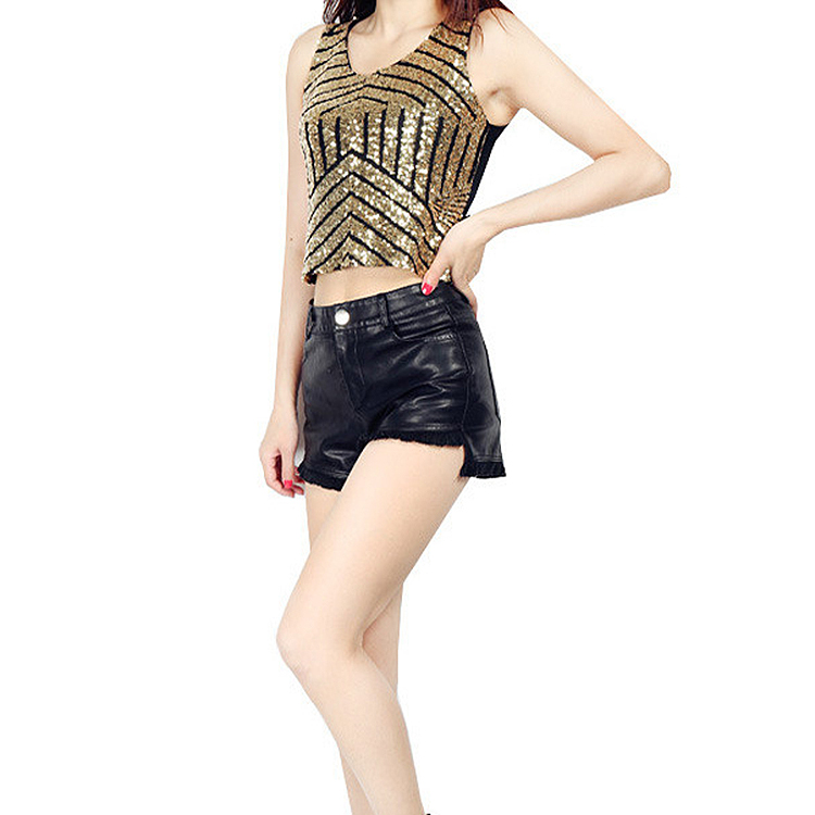 Hot Sale Slim Transparent Sexy Paillette Nightclub Stage CLOTHING Camisole