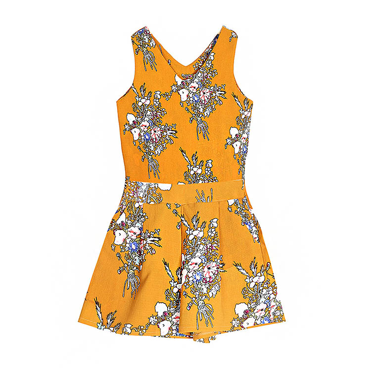 2PcS/Set Strong>WOMENStrong> Flower Pattern Printed V-neck CamiSole+ShortS   Chiffon Suit