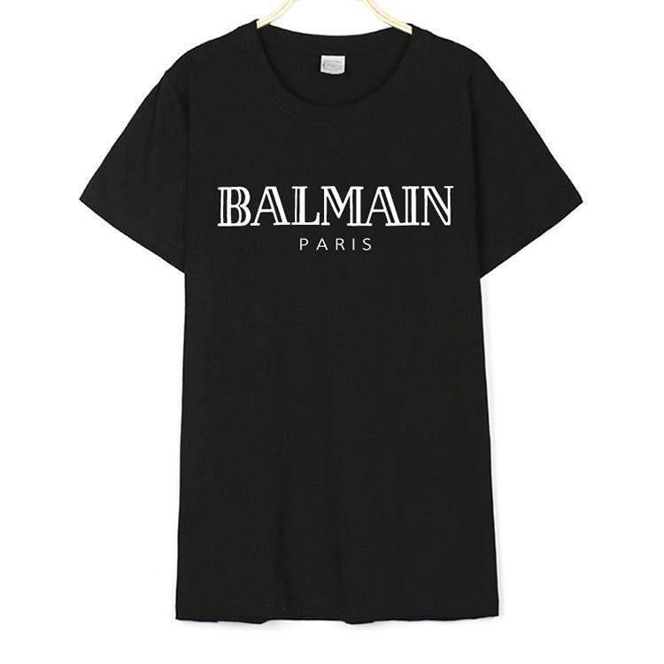 NEW Style Simple Fashion Loose Casual Balmain Print Cotton T-shirt