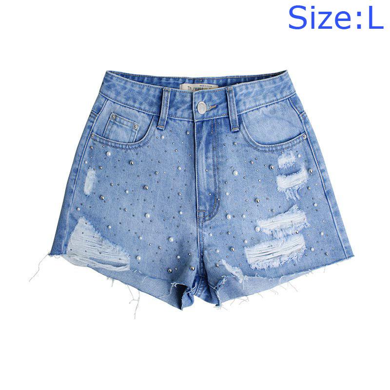 Latest Pearl Nailed BEADS Design High Waisted Irregular Jean Shorts