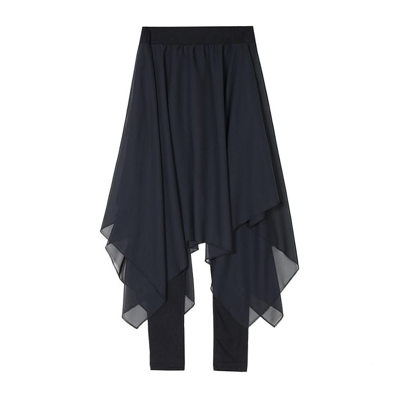 NEW Fashion High-waisted Irregular Black Chiffon Women Culotte