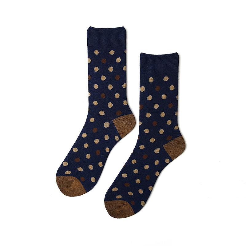 Fashion Dots Navy Color SHOES Size Unisex Cotton Dress Socks Design Santa Wholesale Socks For Men