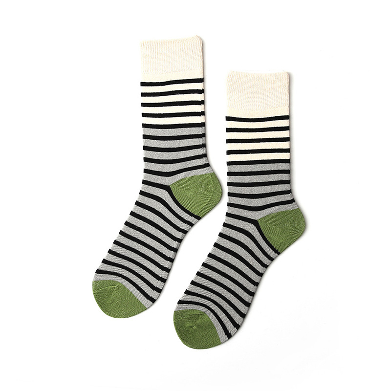 Hot Sale Simple Soft Horizontal Stripes Design Block Colors School Classic Style BOOT Cycling Socks