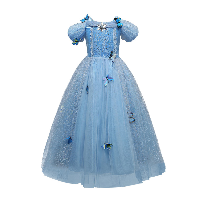 Wholesale New Arrived Short Sleeve Tulle Butterfly Long Frozen Fancy Dress COSTUMEs Design Dress For