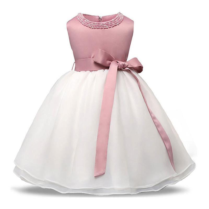 Wholesale Tulle Bowknot Ribbon  Beaded Cute Flower Girls Elegant Latest DRESS Designs Pettigirl Tutu