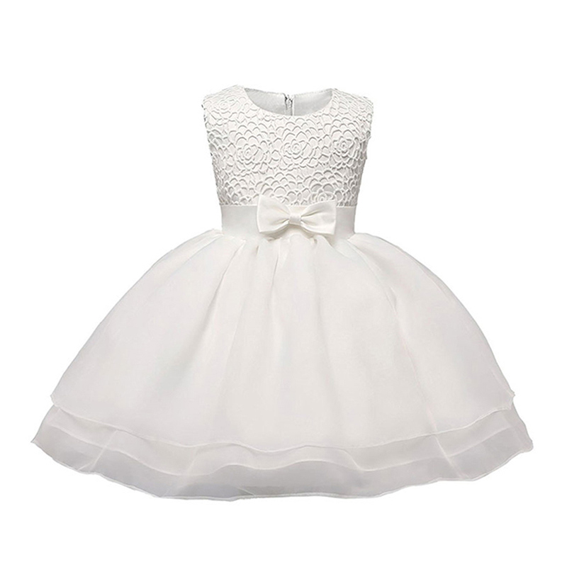 Wholesale Sleeveless Birthday Party Bowknot Embroidered Elegant Cute Pari DRESS For Baby Girl Formal