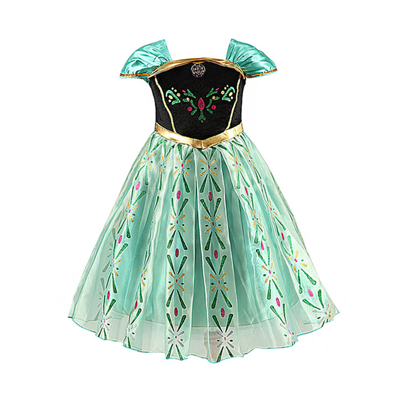 Lovely Cosplay Short Sleeve Double Layers Floral Print Popular Green Color Fancy COSTUMEs Design Fro