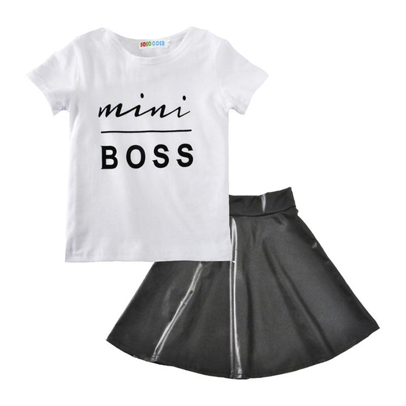 2pcs Simple Fashion Design CLOTHING Set Black Skirt + Letter Print Decoration White Cotton Girls Kid