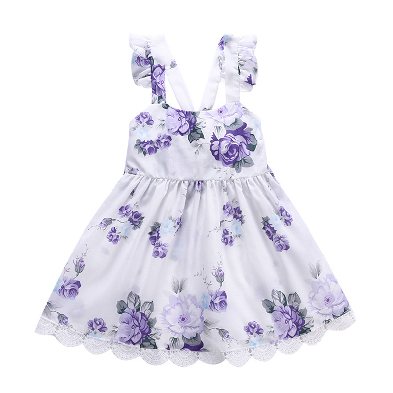 Wholesale Artistic Kids Purple Flower Pattern Print Lace Loose Princess DRESS Design Suspender Girls