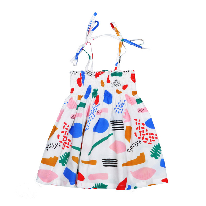 Wholesale Cute Kids Girl DRESS Princess Design Colourful Sling Soft Loose Cotton Doodle Print DRESS