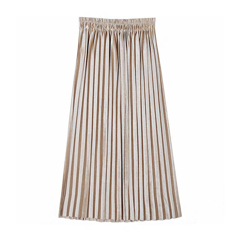 Simple Fashion Trendy Pleated High Waisted Long Office Plus Size DRESS Skirts Design Pleated Skirt