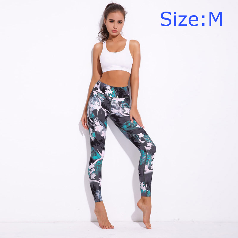 NEW Arrival Fashion Trendy High Elastic Modern Floral Printed Fitness Sex Workout Jogging Pants