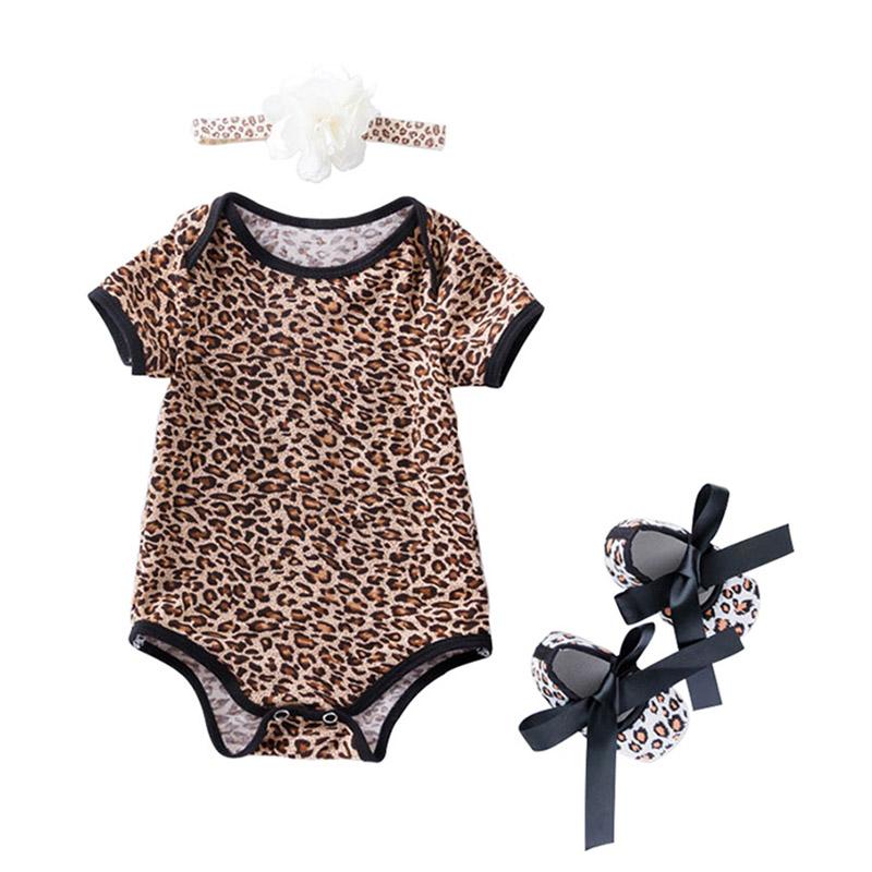 3Pcs Cute Newborn Baby Leopard Printed SHOES And Flower Headband Romper Set Organic Cotton Bodysuit