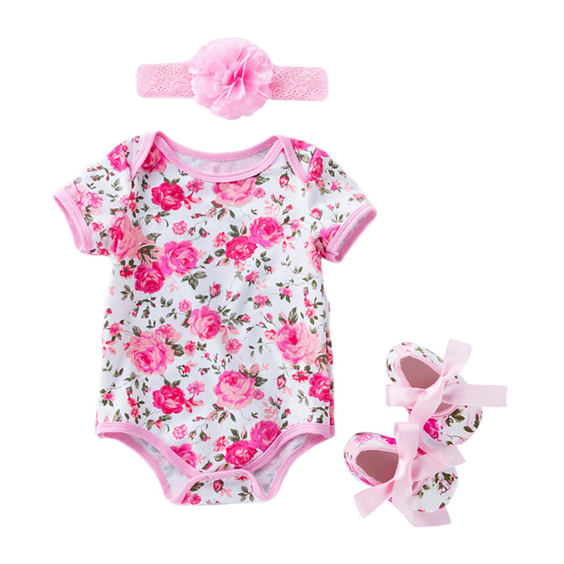 3Pcs Cute Newborn Baby  Floral Printed SHOES And Flower Headband Jumpsuit Fashion New Design Cotton