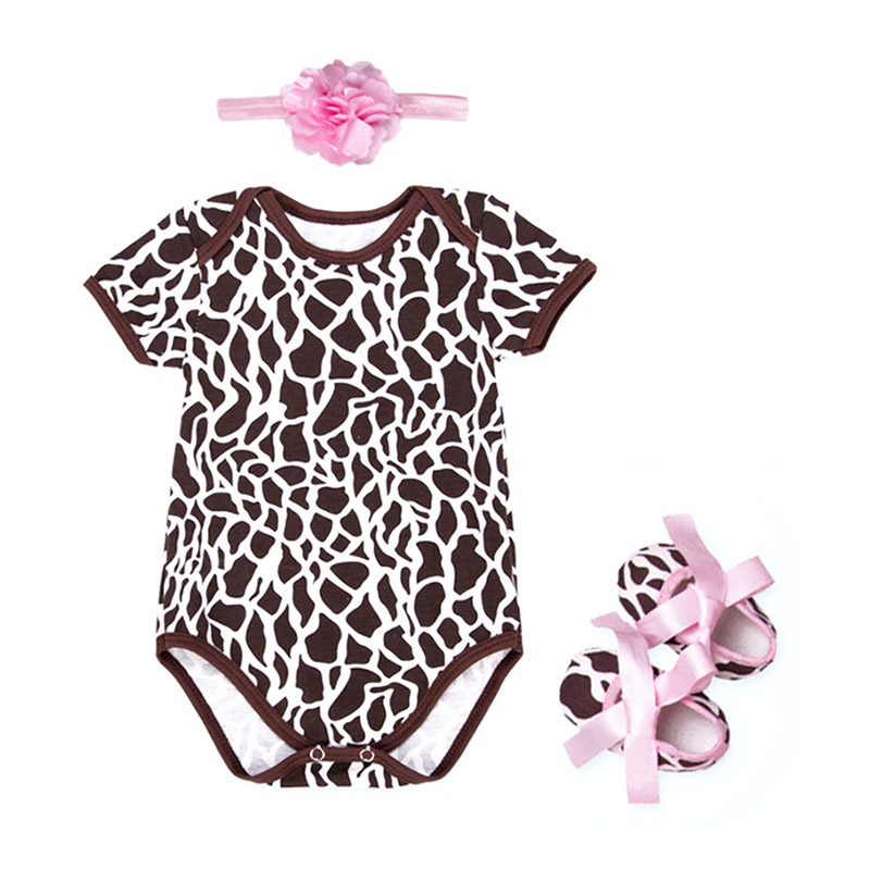 3Pcs Cute Newborn Baby Cow Printed SHOES And Flower Headband Bodysuit Baby Design Organic Cotton Rom