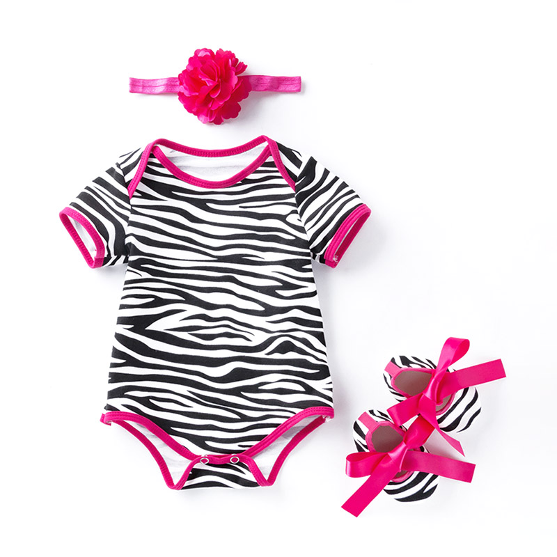3Pcs Cute Newborn Baby Zebra Pattern SHOES And Flower Headband Stripe Organic Cotton Romper Set