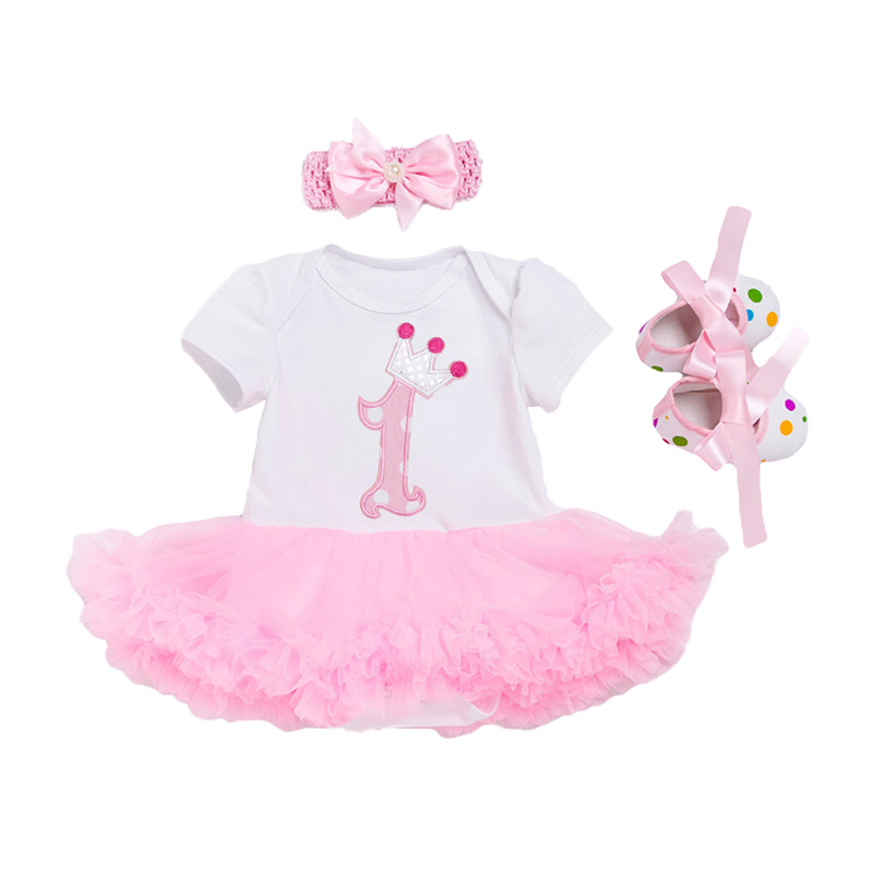 3Pcs Set Dots SHOES Pink Bowknot Headed And Short Sleeve Cute Printed Baby Romper Cotton Mesh Design