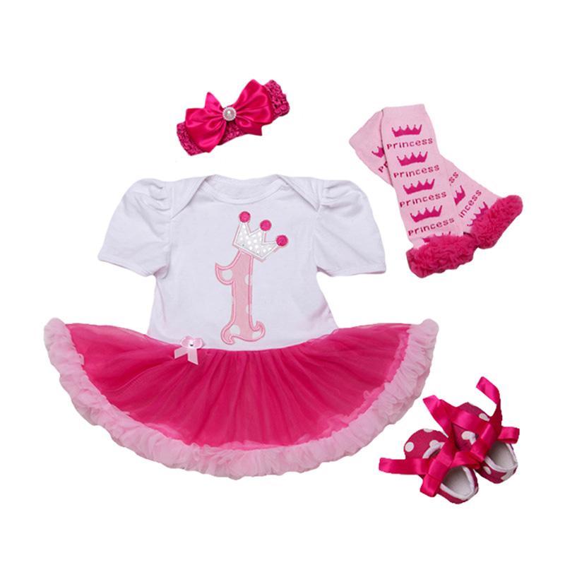 4Pcs Set Bowknot Headband Printed Legging Dots SHOES Lovely Lace Fashion Jumpsuit Design Baby Girl J