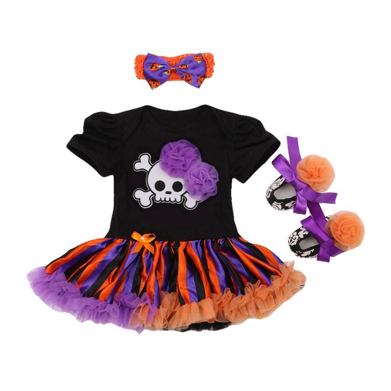 3Pcs Set Bowknot Headband Printed SHOES Black Short Sleeve Halloween Funny Pattern Baby Girl Lace Fl