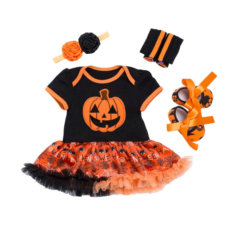 4Pcs Set Orange And Black SHOES Double Flower Headband Legging Funny Printed Baby Girl Lace Jumpsuit