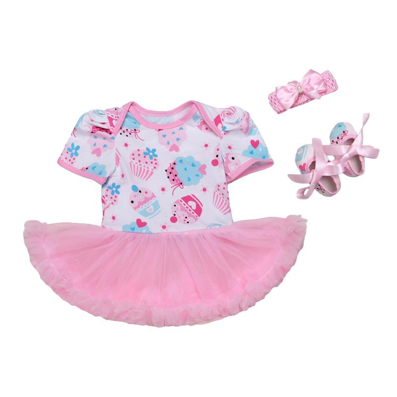 3Pcs Set \Cute Printed SHOES Pink Headband Short Sleeve Tutu Fashion Floral Jumpsuit Baby Girl Jumps