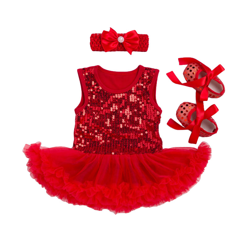3Pcs Set Cute Bowknot Headband Lovely SHOES Sleeveless Solid Color Baby Girl Jumpsuit Cotton Sequin