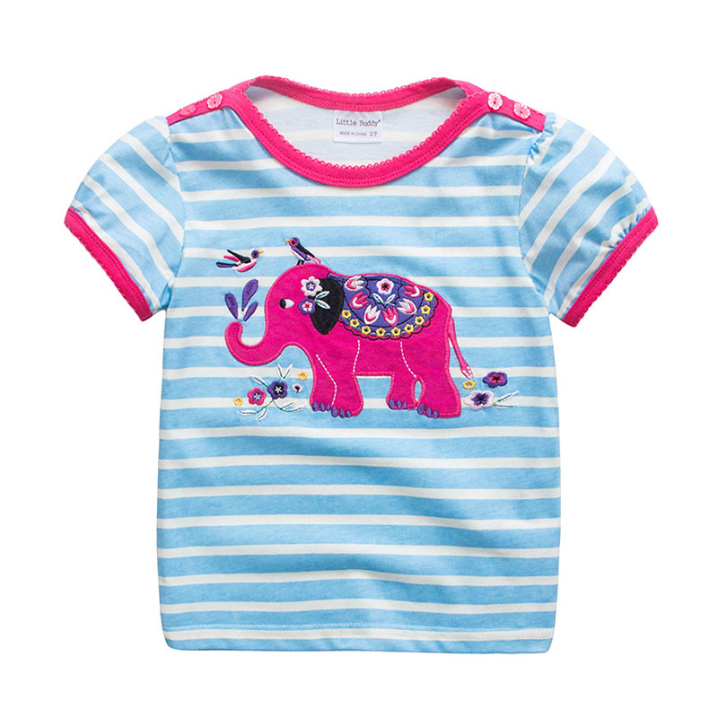 NEW Arrived Blue Short Sleeve Button Pink Elephant Printed Quality T Shirts Wholesale Cotton Baby Gi