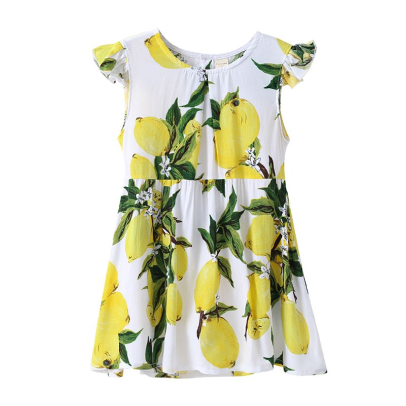 New Arrived Cotton Ruffle Sleeve Lemon Tree Printed Casual Children Girl DRESS