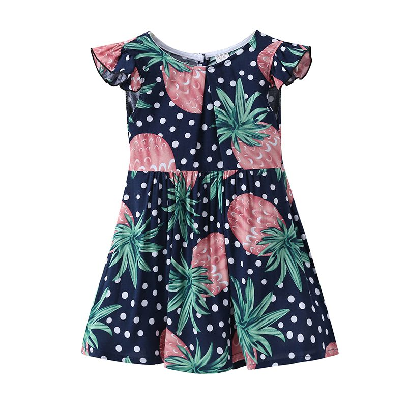 New Arrived Girls Cotton Ruffle Sleeve Round Neck Button Dots And Strawberry Printed Wholesale DRESS