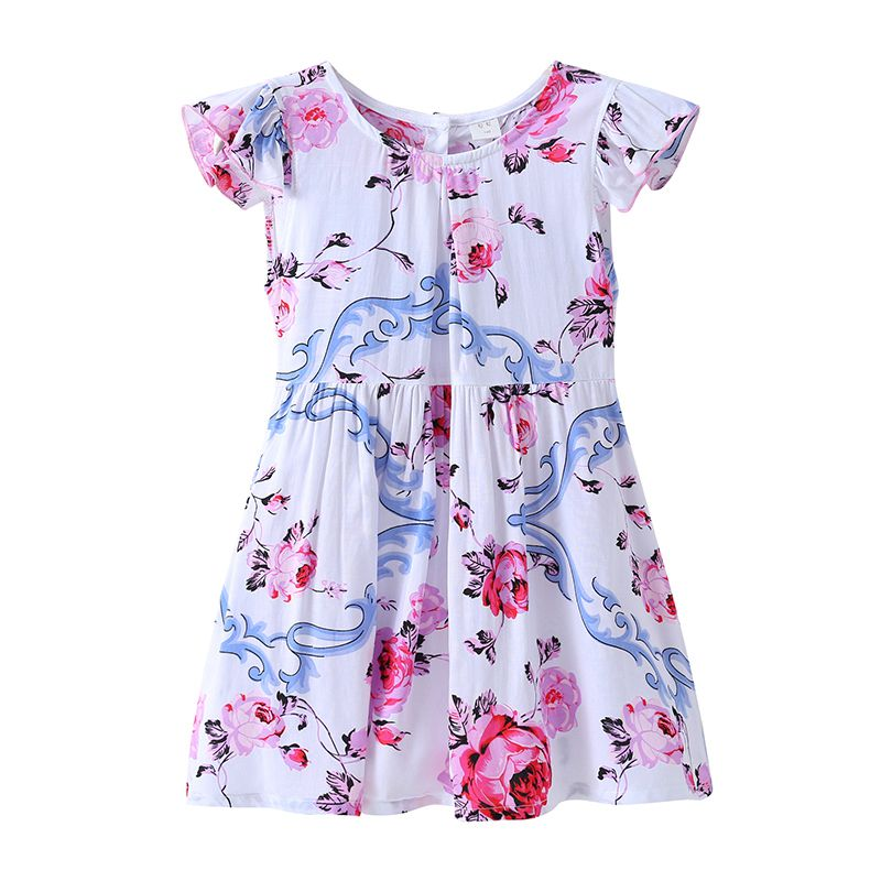 Lastest Style Girls Cotton Round Neck Ruffle Sleeve Pink Floral Printed Pleated DRESS