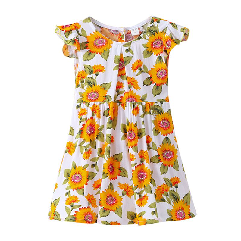 Hot Selling Girls Cotton Ruffle Sleeve Round Neck Orange SunFlower Printed Floral DRESS