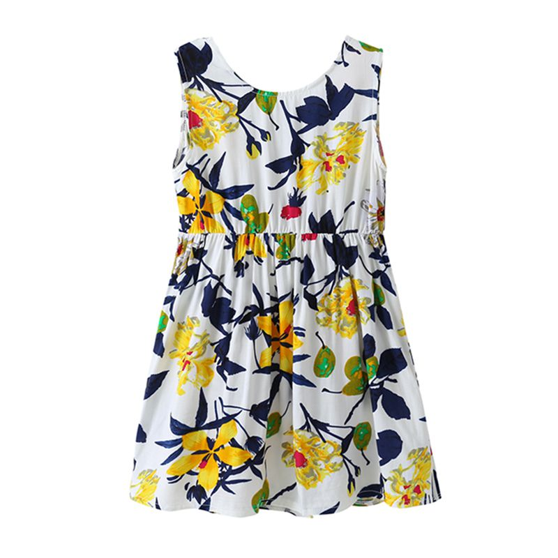 New Arrived Girls Cotton Sleeveless Backless Bowknot Yellow Flower Printed Wrap DRESS