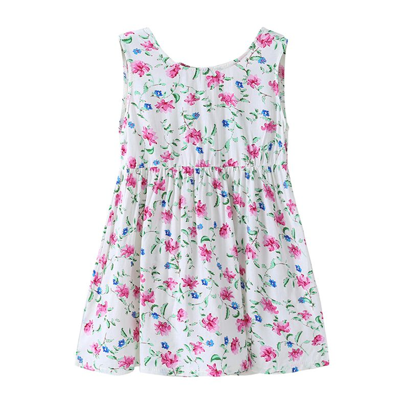 Wholesale Cotton White Sleeveless Backless Sweet Little Floral Printed New Design Baby Girls DRESS