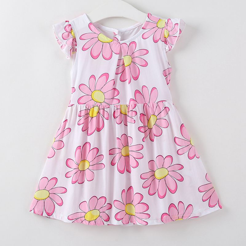 New Arrived Cotton White Ruffle Sleeve Pink Floral Printed Lovely DRESS For Kids Girl